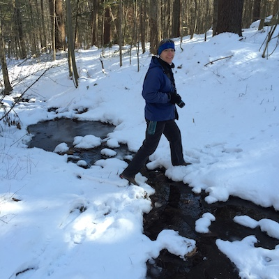 Winter trail walking at McCabe Forest