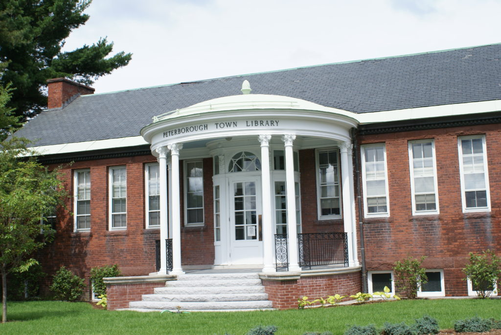 Portico at Peterborough Town Library in Peterborough New Hampshire